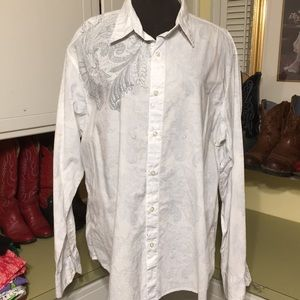 Nice White with Gray Men's Collared Shirt